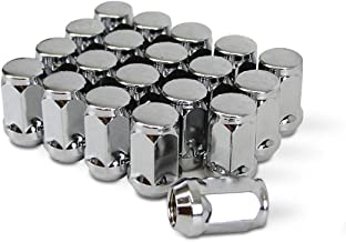 1.8 inch Length Conical Cone Taper Acorn Seat Closed End 20pcs Extended Silver Chrome Bulge Lug Nuts 1//2x20 Threads Fits Jeep Cherokee Wrangler Liberty and More- Uses 19mm Hex Socket