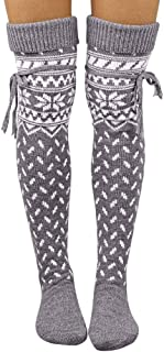 Women Christmas Cotton Socks Knit Warm Thigh High Long Stockings Over Knee Socks