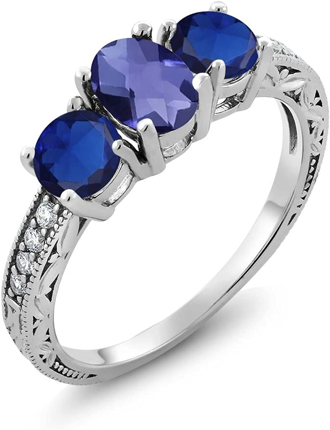 1.97 Ct Oval Checkerboard bluee Iolite bluee Simulated Sapphire 925 Silver Ring
