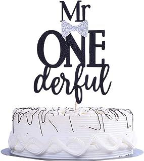 YUINYO Mr Onederful Cake Topper - Black Glitter Birthday Cake Topper Silver Bow Tie First Birthday Boy Baby Shower- Little...