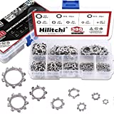 Hilitchi 300-Pcs [8-Size] 304 Stainless Steel External Tooth Star Lock Washers Assortment ...