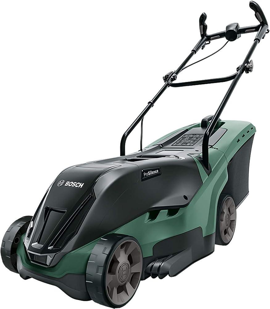 Bosch Home and Garden 06008B9505 UniversalRotak 36-550 Cortacésped sin batería, ancho de corte 38 cm, superficies hasta 550 m², en caja, Baretool, 36 V, Negro/Verde