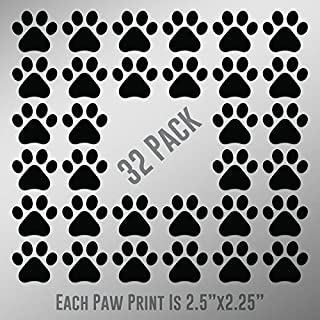 DD898 Dog Paw Prints 32-Pack | Each paw 2.5-Inches By 2.25-Inches | Premium Quality Black Vinyl