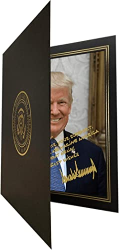 Personalized Trump Portrait | 8x10 Trump Picture | Custom Message | Signed Trump Picture with Black Folder with Gold ...