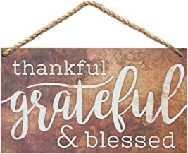 P. Graham Dunn Thankful Grateful & Blessed Wood 6 x 3.5 Printed Overlay Mini Wall Hanging Plaque Sign