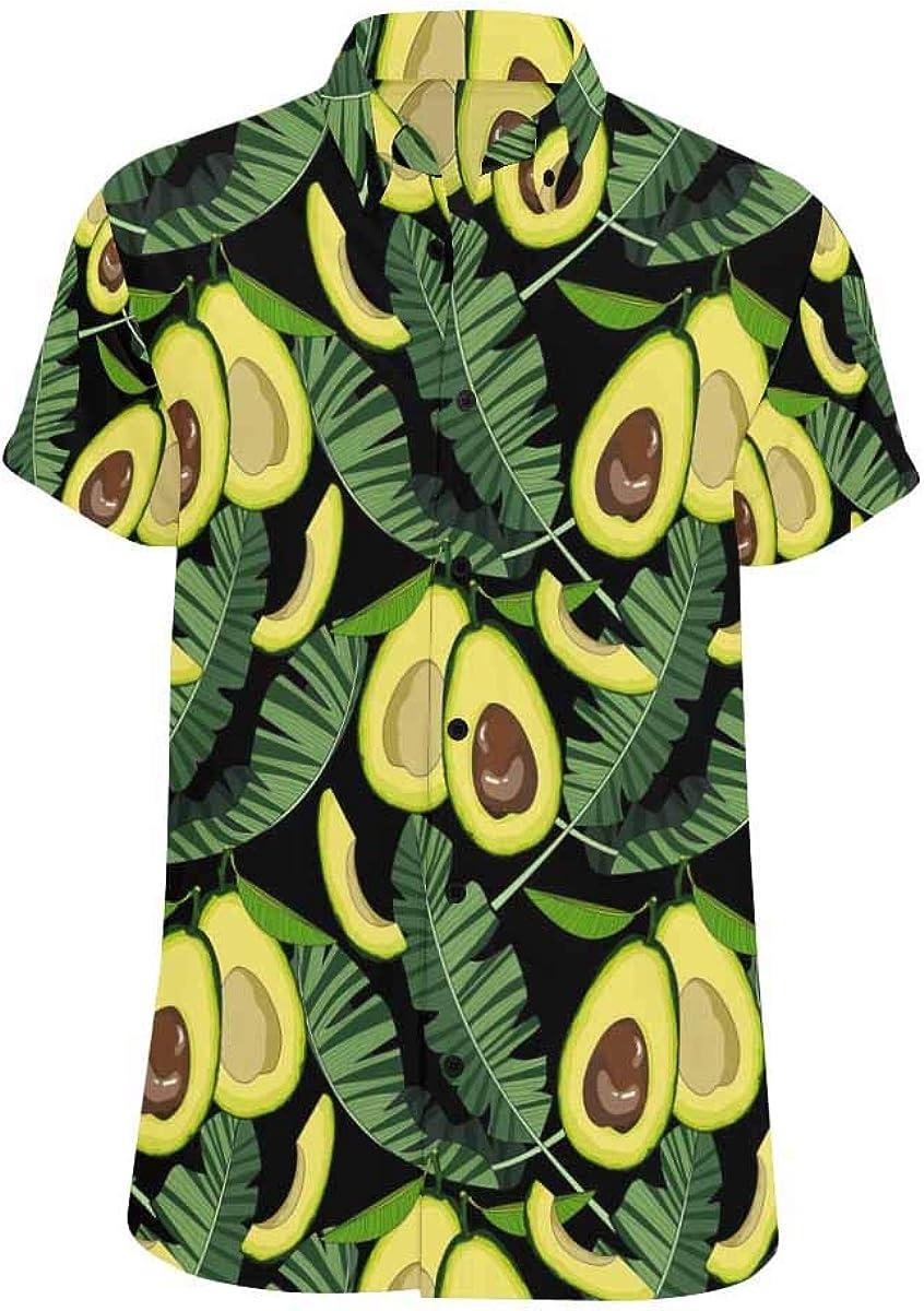 INTERESTPRINT Avocado Tropical Leaves Shirt for Printed Short Sleeve Button Down Beach Shirt for Men