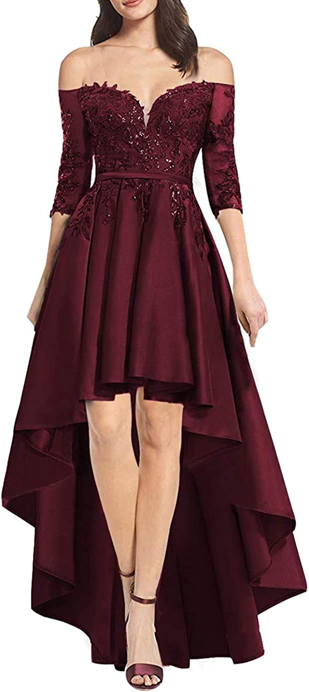 HobbyBridal Women's High Low Lace Satin Prom Dress Off Shoulder Half Sleeves Long Formal Evening Party Gowns