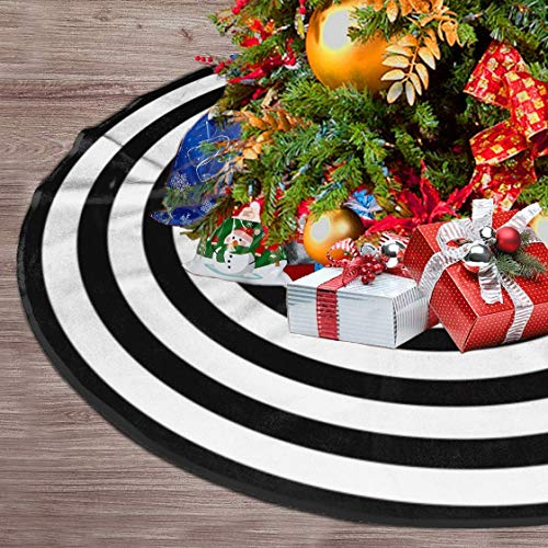 Black and White Halloween Christmas Tree Skirt Target Xmas Tree Skirt, Circle Stripe Tree Mat Decoration for Halloween Xmas New Year Holiday Party - 48 Inches