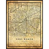 Fort Worth map Vintage Style Poster Print   Old City Artwork Prints   Antique Style Home Decor   Texas Wall Art Gift   Vintage map Reprint 24x36