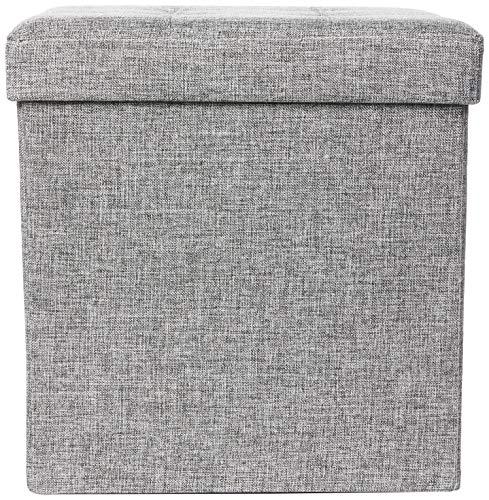 Relaxdays faltbarer Sitzhocker aus Leinen, grau, 38cm - 2