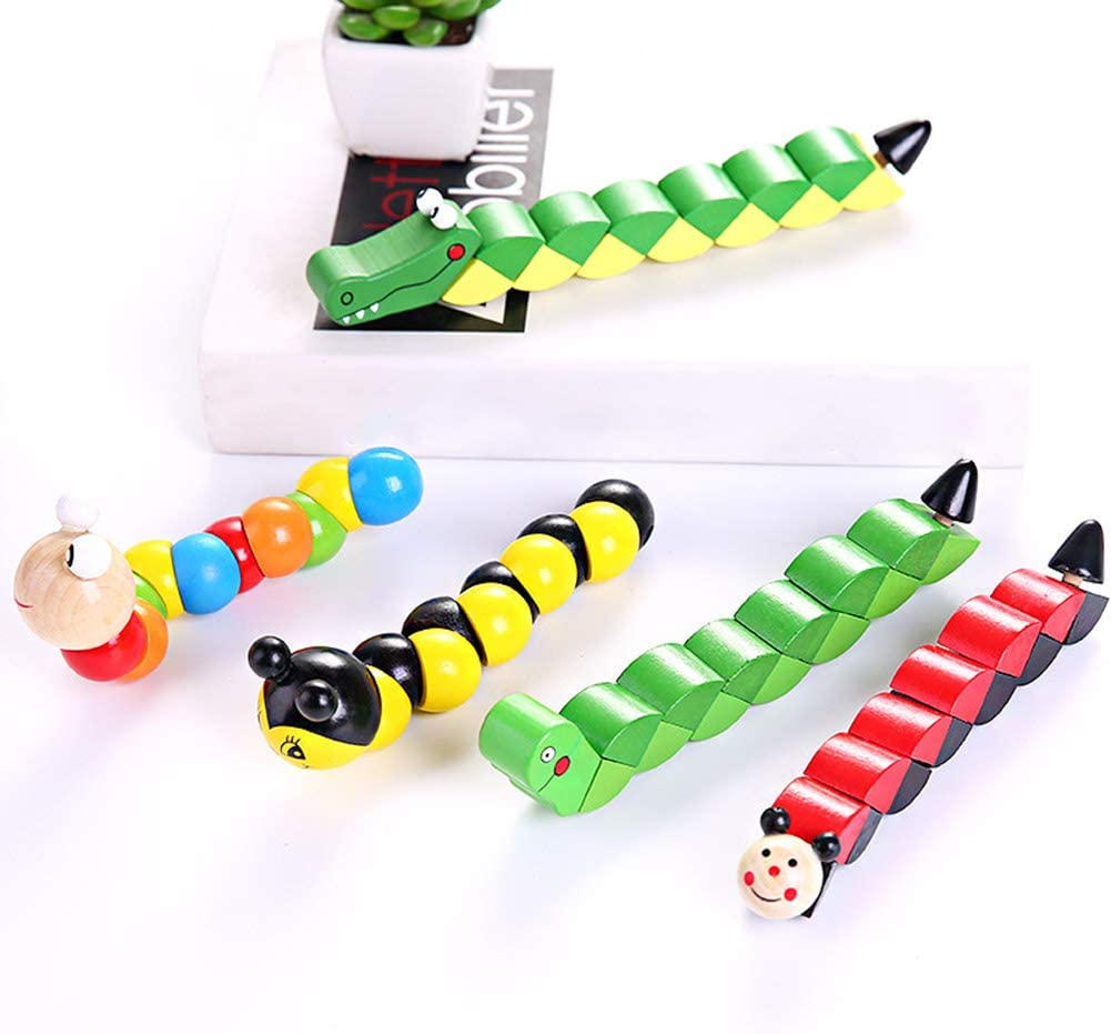 gerFogoo LingNuo Colorful Wooden Insects Toy Wiggly Worm Blocks Jointed Sensory Toys for Toddlers 6-12 Month Style 3