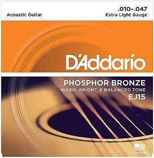 D'Addario EJ15 Cordes en bronze phosphoreux pour guitare acoustique avec revêtement Très Léger 10-47