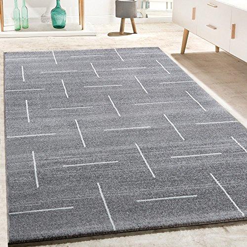Paco Home Designer Teppich Wohnzimmer Modernes Design In Grau Weiß Meliert, Grösse:120x170 cm