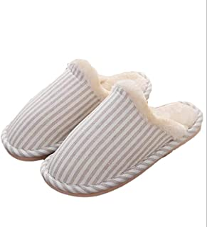 Winter Cotton Slippers Indoor Home Warm Cotton Slippers Couple Floor Home Ladies Slippers Memory Foam Booties Slip-on Fur Lining/Non-Slip (Color : Beige, Size : 38-39 Yards)