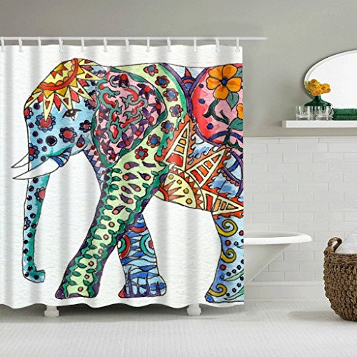 WTL Rideaux de douche Rideaux de douche Color Elephant Pattern Waterproof Quick To Dry Matériaux de protection de l'environnement Crochet métallique Trou suspendu ( taille : 150*180cm )