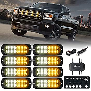 [Upgrade] Xprite Surface Mount Strobe Lights Kit with Control Panel Amber White Grill Grille Side Marker Flashing Emergency Warning Light for Trucks Vehicles ATV RV Cars Van 8PCS
