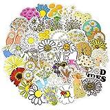 DUOYOU Dibujos Animados Daisy Pegatinas Set Vsco Girl Style Flower Series Impermeable Etiqueta En Portátil Equipaje Monopatín Cuaderno Niño Juguete 50 Piezas