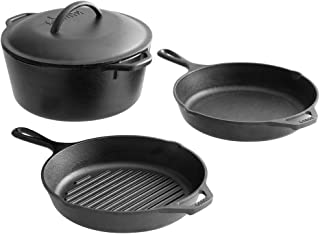 Pack of 4 Pre-Seasoned Cast Iron Makeware Set - Includes 10 1/4 Inch. Skillet, 10 1/4 Inch. Grill Pan, and 5 Qt. Dutch Oven Use at restaurant, kitchen, home.