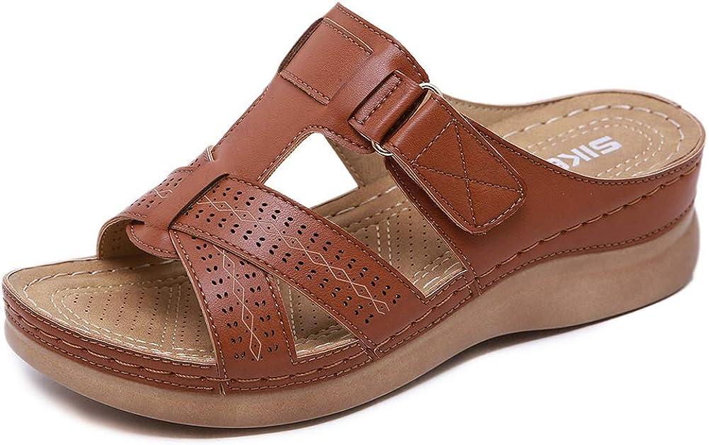Meeshine Women's Summer Beach Flat Sandals Bohemia Flip Flops Platform Slide Comfort Walking Shoes