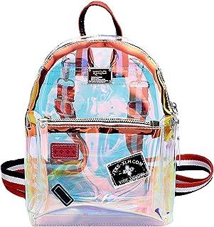 Monique Girls Women Small Glitter Holographic Clear Backpack Daypack Cross-body Bag Shoulder Bag