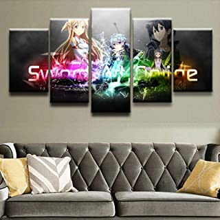 WLHWLH Modern Pictures Hd Printed Animation Poster for Living Room Decor 5 Piece Sword Art Online Characters Canvas Painting Wall Art-Frameless