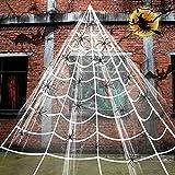 Bluelves Halloween Spinnennetz Spinngewebe, 7m Triangel Spinnennetz, Halloween Dekoration Set Garten, 30 Mini Spinnen für Halloween Party Deko Indoor Outdoor Gartendekoration