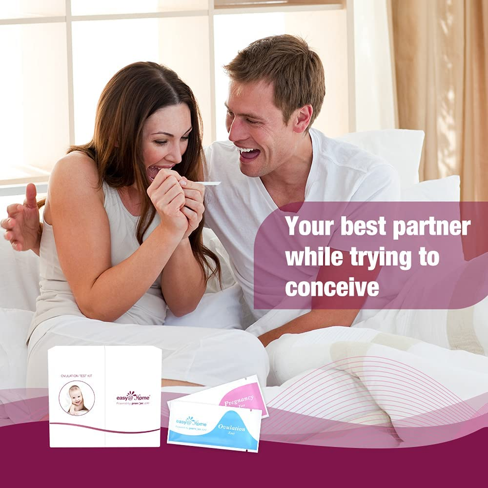 Easy@Home Ovulation & Pregnancy Test Strips Kit: 50 Advanced Ovulation Strips and 20 Early Pregnancy Tests - Accurate Fertility Tracker OPK with Free APP, 50LH+20HCG