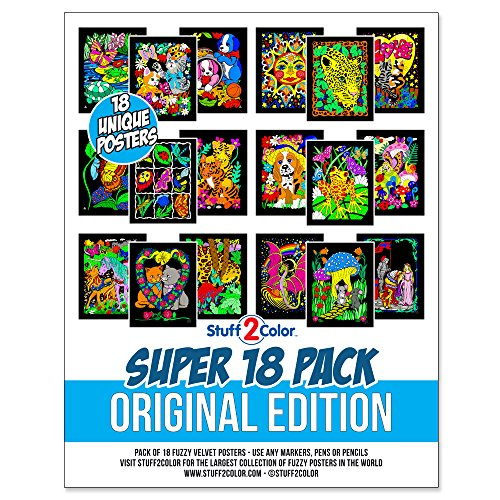 Super Pack of 18 Fuzzy Velvet Coloring Posters (Original Edition) - Great for Family Time Coloring, Arts, Crafts, Travel, School, Care Facilities [All Ages Coloring: Girls, Boys, Adults, Grandparents]