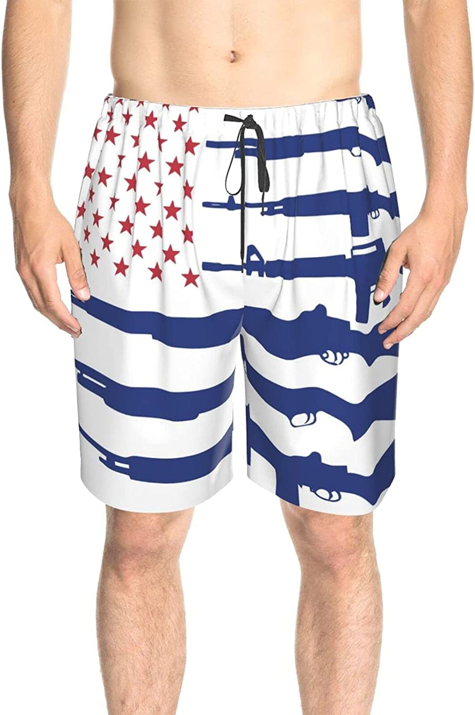 JINJUELS Mens Bathing Suits Blue American Flag Swim Short Boardshort Drawstring Elastic Swimming Trunks with Mesh Lining