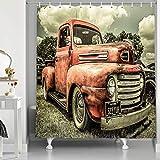 NYMB Custom The Old Truck Car 175,9 x 177,8 cm, schimmelresistentes Polyestergewebe, Duschvorhang-Set, fantastische Dekorationen, Badvorhang