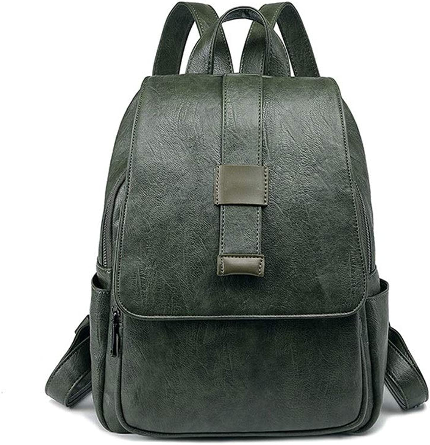 DJSkd Leather Fashion Wild Trend Soft Leather Large Capacity Backpack Female Cowhide Small Backpack (color   Dark green)