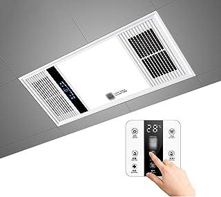 GXFC Calentador de baño Multifuncional 4 en 1 Ventilador Extractor de Techo Luz Plafón Led 16W y Fan con conducto Flexible de Aluminio para Ventilador y Interruptor tactil, Cableado