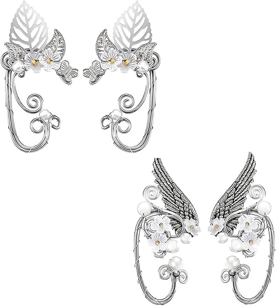 generic Elf Ear Cuffs Wing Earrings Clip on Earrings for Cosplay Pearl Wing Tassel Filigree Masquerade Earrings for Women 2 Pairs