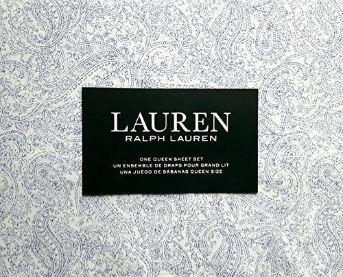 Lauren Ralph Lauren 4 Piece Cotton Queen Size Sheet Set Blue Ink Paisley Pattern on White