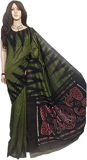 Mehendi Green Indian Bengal Traditional Pure Cotton Sambalpuri Ikat Saree Blouse Full Hand Weaving Summer Soft Muslim Formal Sari 754