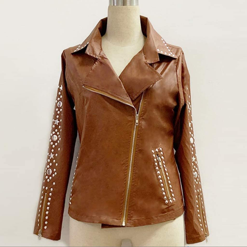MMOOVV Damen Retro Motorradjacke Niet Streetwear Solid Revers Zip Jacke Langarm Mantel Studs Short Oberbekleidung(S/5XL) Braun