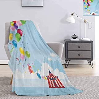 Luoiaax Circus Luxury Special Grade Blanket Circus Tent and Balloons Clouds Horizon Skyline Fantasy Party Fun Entertainment Multi-Purpose use for Sofas etc. W91 x L60 Inch Multicolor