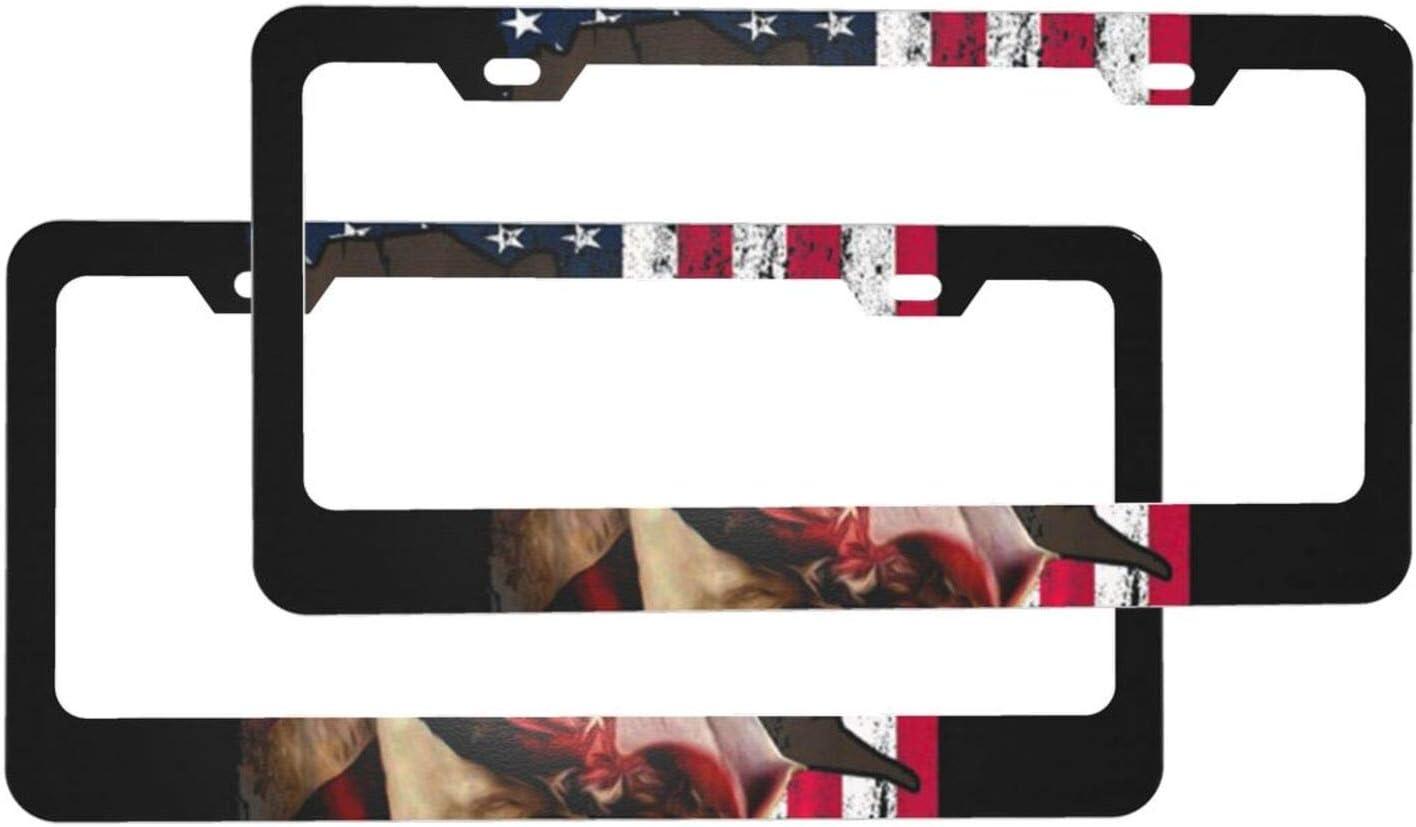 Japan Maker Philadelphia Mall New Car License Plate Frame 2 Pack Dog Flag Caps American Screw with