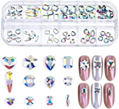 Niome 12style/Box Nail Art Decor AB Rhinestone Crystal Glitter Gems Design Jewelry Decoration Tips