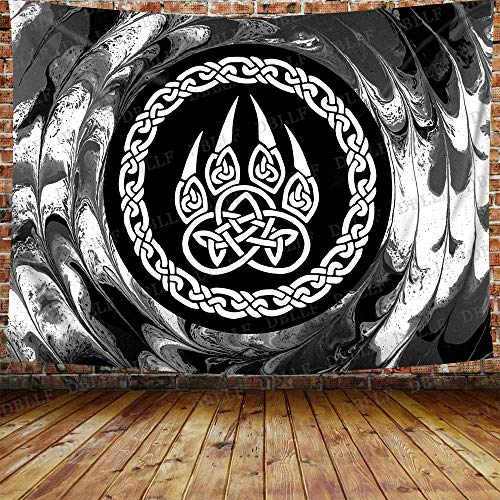 DBLLF Norse Viking Wolf Paw Tapestry Bear Claw Tapestry Ancient Scandinavian Pattern Wall Hanging, Cotton Art Large Tapestries Nordic Amulet - Celtic Pagan Backdrop, for Home Decor (80 x 60 inches)