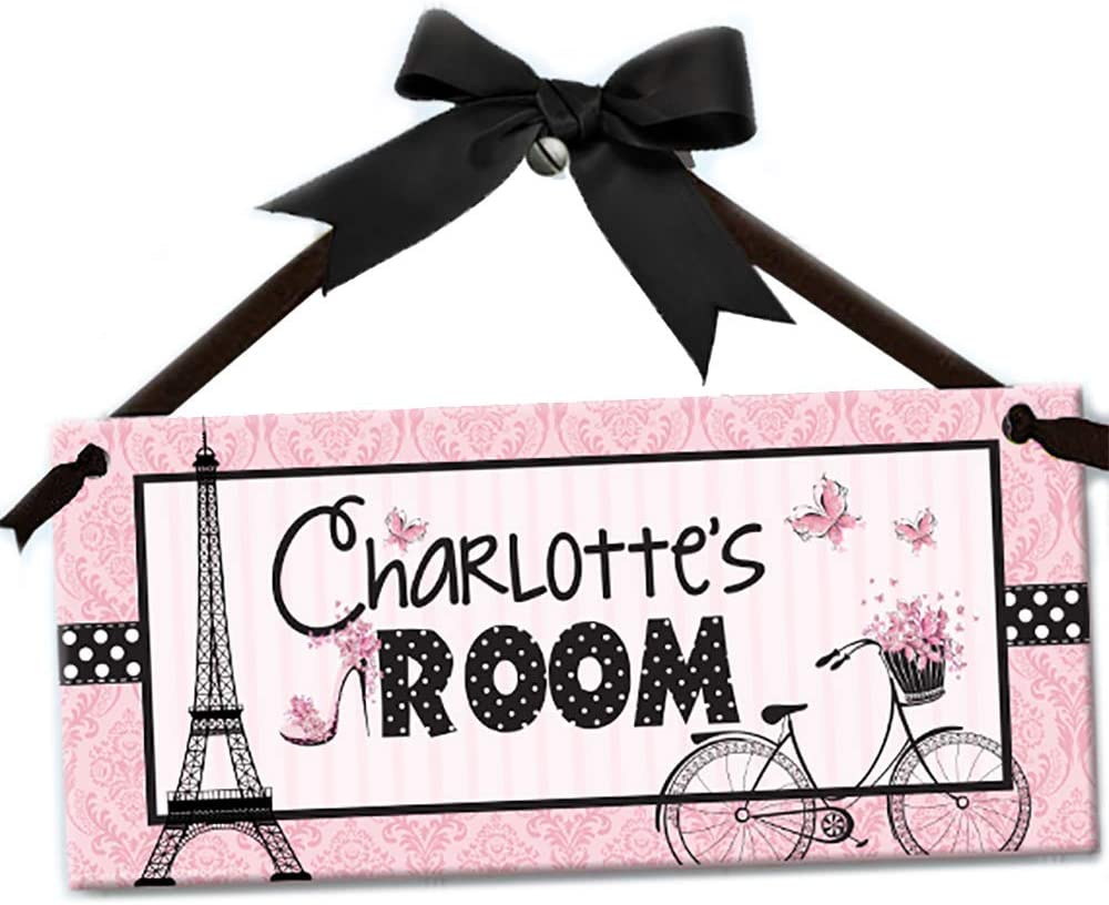 Oooh La Paris Pretty in Pink Safety and trust Factory outlet Wall Sign Door Kids Personalized