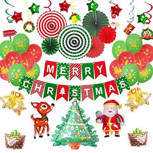 Funnyfeng verjaardagsballonset Kerstmis letter banner vlag party decoratie kerstballen fan papier ornamenten spiraal geschikt voor kerstdecoratie
