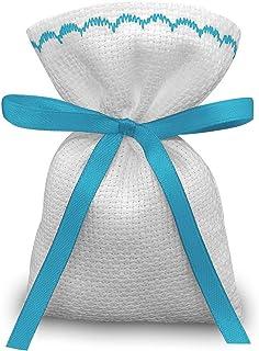 Crociedelizie, Stock 40 sacchetti bomboniere portaconfetti segnaposto in tela aida da ricamare a punto croce