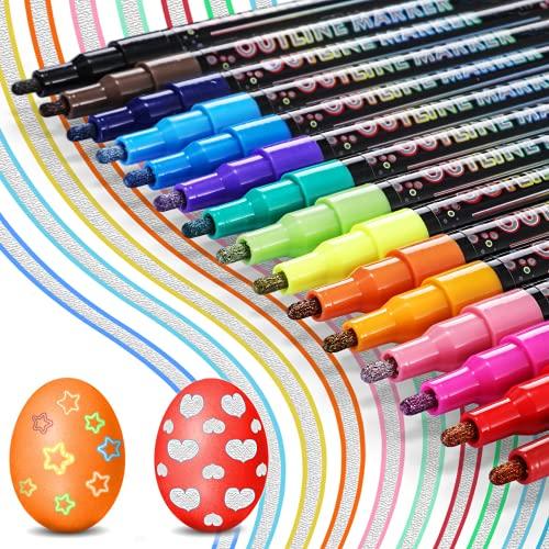 Los Bolígrafos de Contorno, Buluri 15 Colores Bolígrafos de Contorno Doble Linea Rotuladores Doble Línea Metalicos para...