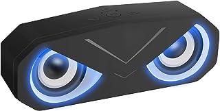Sonkir Bluetooth-Lautsprecher, tragbar, Bluetooth 5.0 Wireless Lautsprecher mit tiefen LED-Lichtern, Stereo-Subwoofer, AUX TF Lautsprecher für Camping Strand Reisen (Schwarz)