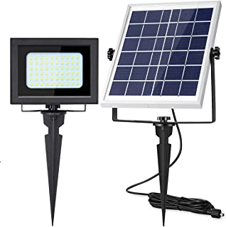 Solar Flood Lights Outdoor UPONUN 60LED IP67 Waterproof Solar Spot Lights Rechargeable Solar Security Lights Auto ON Off Solar Powered LED Flood Light for Roof Shed Yard Pool Path Barn Sign Flagpole