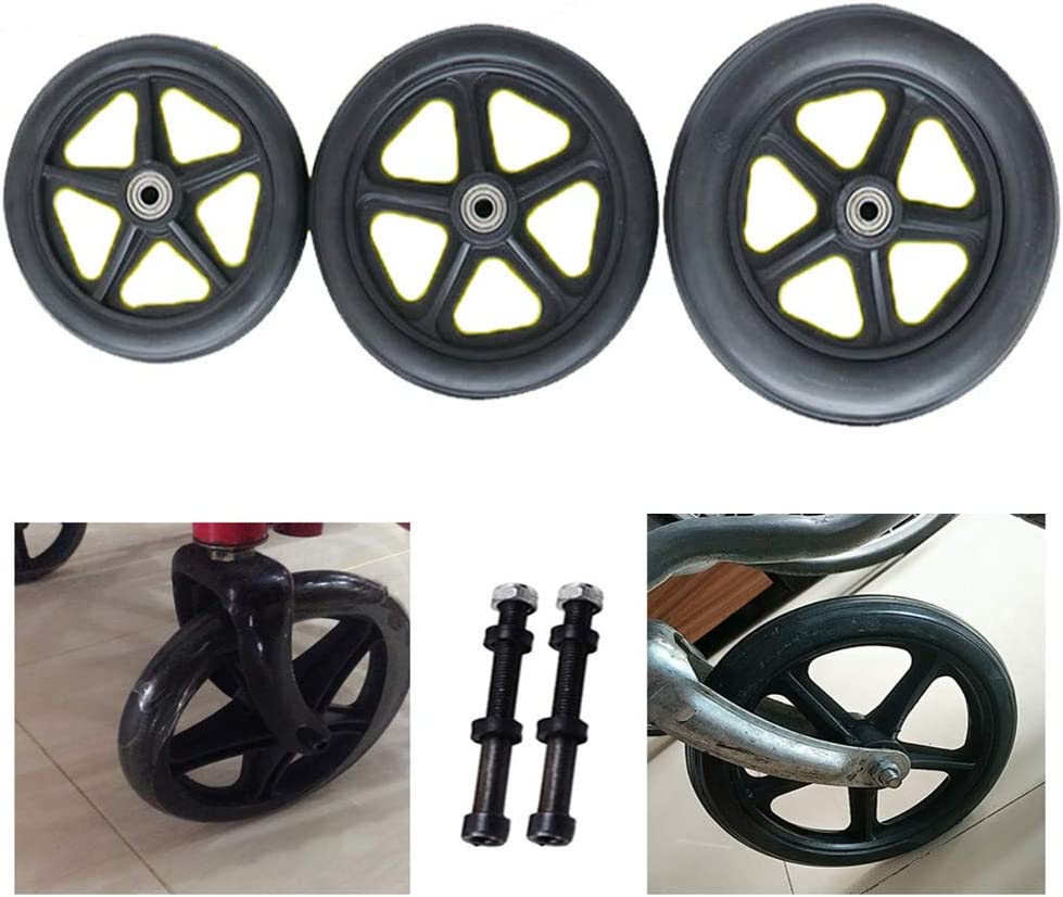 Gnova mart PVC Wheelchair Max 86% OFF Casters in Black with Bearing 0.8 cm Steel