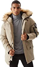 Molemsx Men's Warm Winter Down Jacket Parka Puffer Coat with Hood Faux-Fur Trim XS-3XL