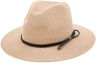Hot Men Fashion Summer Casual Trendy Beach Sun Straw Panama Jazz Hat Cowboy Fedora hat Gangster Cap` TuanTuan (Color : Pink, Size : 56-58CM)