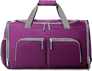 Packable Sports Gym Bag with Shoes Compartment, Foldable Waterproof Travel Luggage Duffel Bag for Men Women, Purple (Purple) - 190701-XJ-3570-Purple